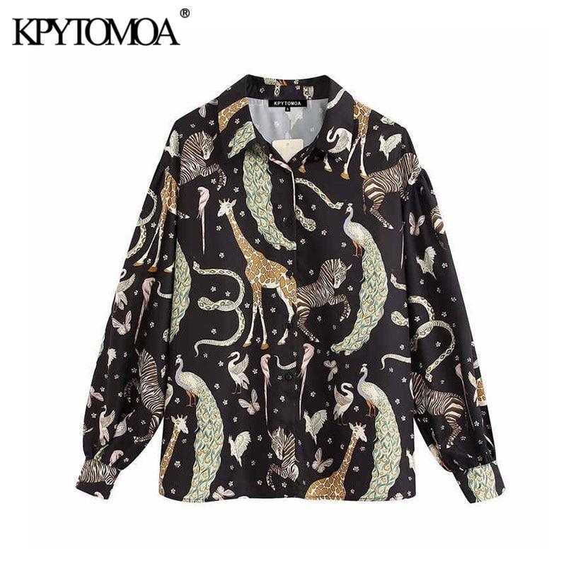 KPYTOMOA Women 2020 Vintage Fashion Animal Pattern Blouses Lapel Collar Long Sleeve Office Wear Female Shirts Blusas Chic Tops