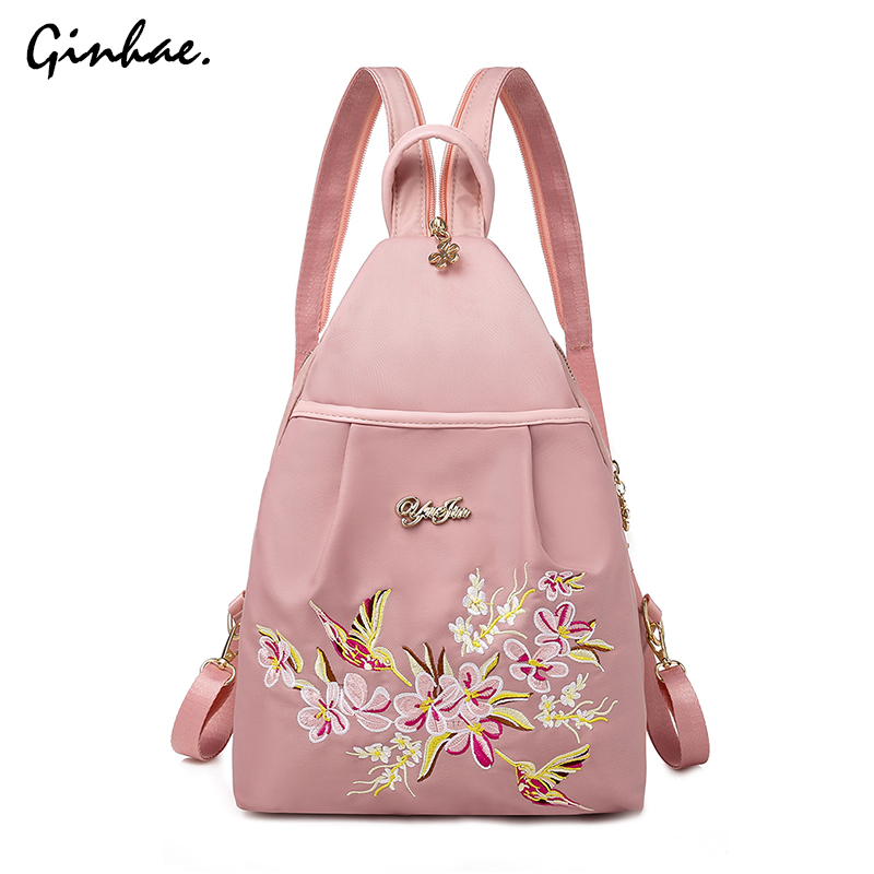 Fashion Oxford Women Functional Backpacks For School Teenagers Girls Flower Embroidery Travel Bags Retro Chest Pack Mochila