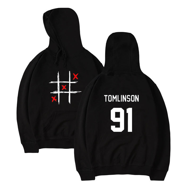 Rock And Roll Men's Hoodie Europe And America Louis Tomlinson 91 Unidirectional Combination MiSS You English With Numbers Hoodie