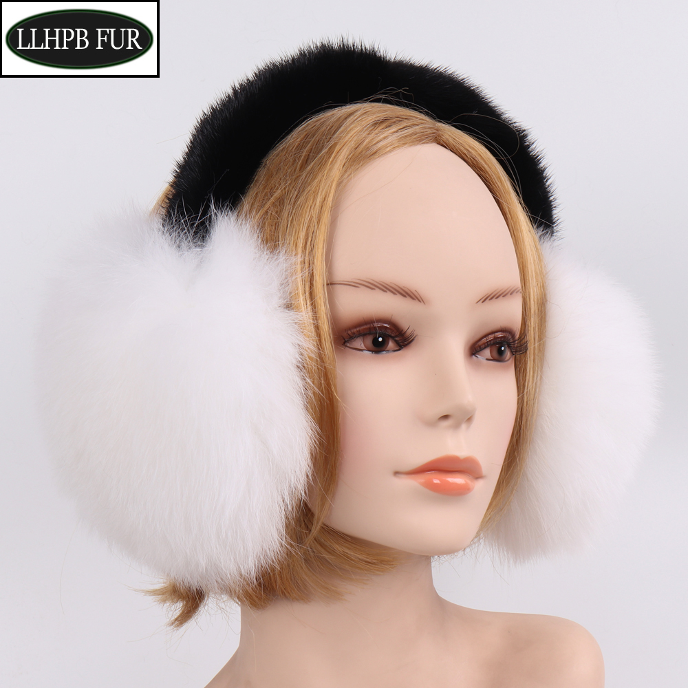 Hot Sell Girls Natural Real Fox Fur Earmuffs Winter Women Warm Plush Fox Fur Ear Muff Russian Fluffy With Real Mink Fur Earlaps