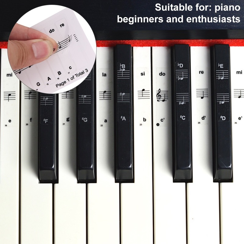 32/37/54/61/88 Key Piano Stickers PVC Transparent Piano Keyboard Piano Stave Electronic Keyboard Name Note Sticker Accessories