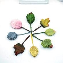 Couronne en forme de fausse fleur rose   12 pièces, en forme de feuille verte multicolore, pour décoration de mariage, artisanat