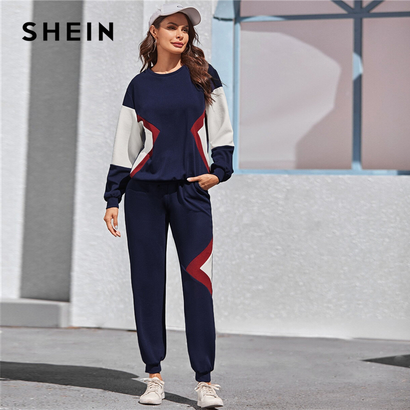 SHEIN Navy Color Block Pullover And Sweatpants Two Pieces Set Women Spring Autumn Active Wear Drop Shoulder Casual Suit Sets
