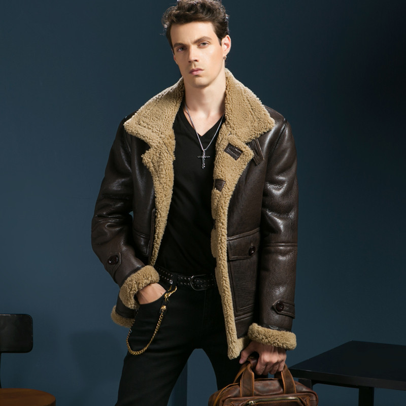Fashion Urban Men Thick Fur Coat Short Design Winter Motorcycle Jacket Sheepskin Genuine Leather Coat Winter Leather Jacket 1763