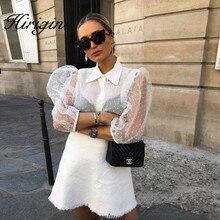 Женская сетчатая прозрачная блузка с длинным рукавом, топ, рубашка, блузка, модная жемчужная пуговица, прозрачная белая рубашка, женские блузы