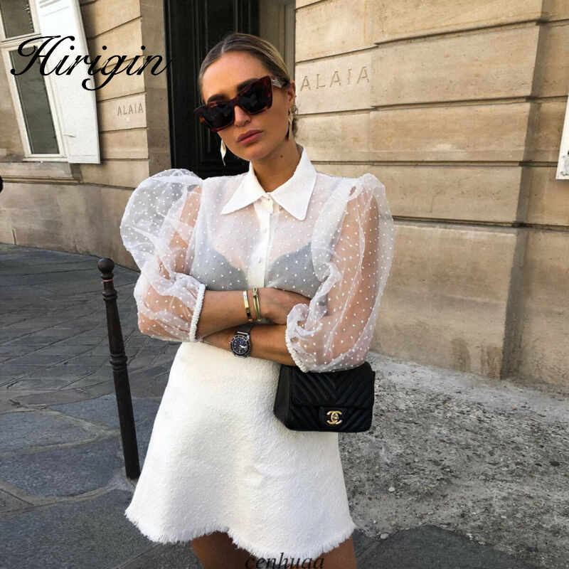 Vrouwen Mesh Sheer Blouse See-through Lange Mouwen Top Shirt Blouse Mode Parel Knop Transparant Wit Shirt Vrouwelijke Blusas
