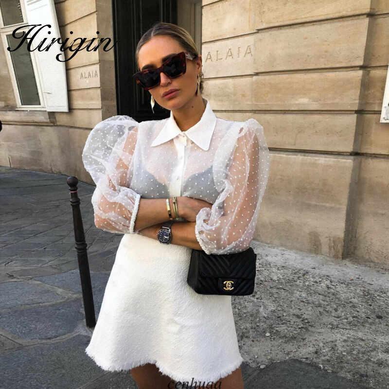 Phụ Nữ Lưới Sheer Áo Thấy-Thông Qua Cao Dài Tay Áo Thời Trang Ngọc Trai Nút Trong Suốt Áo Sơ Mi Trắng Nữ Blusas