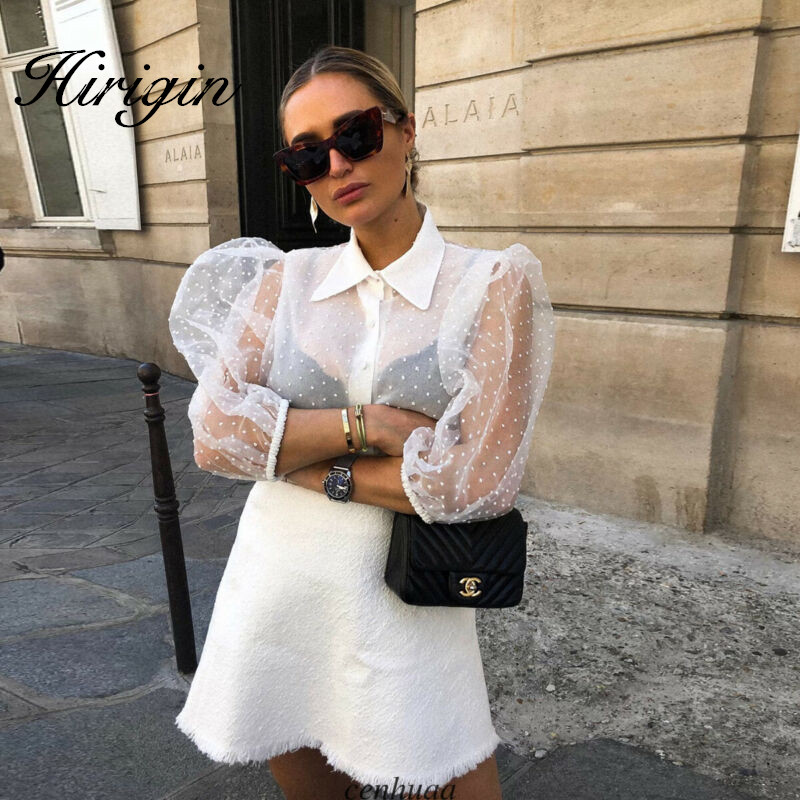 Women Mesh Sheer Blouse See-through Long Sleeve Top Shirt Blouse Fashion Pearl Button Transparent White Shirt Female Blusas