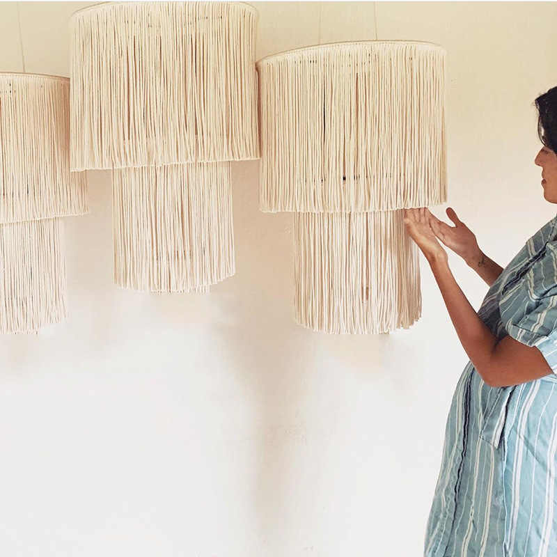 Handmade Lamp Cover Cotton Rope Woven Hanging Lamp Shade Light Cover Double Layer Tassel Boho Style Home Hanging Decoration Wind Chimes Hanging Decorations Aliexpress