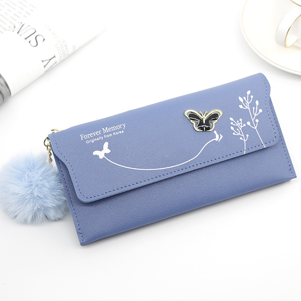 Fashion Butterfly Women Wallet Wrist Handle Phone Case Long Section Money Pocket Pouch Handbag Women's Purse Card Holders 2020
