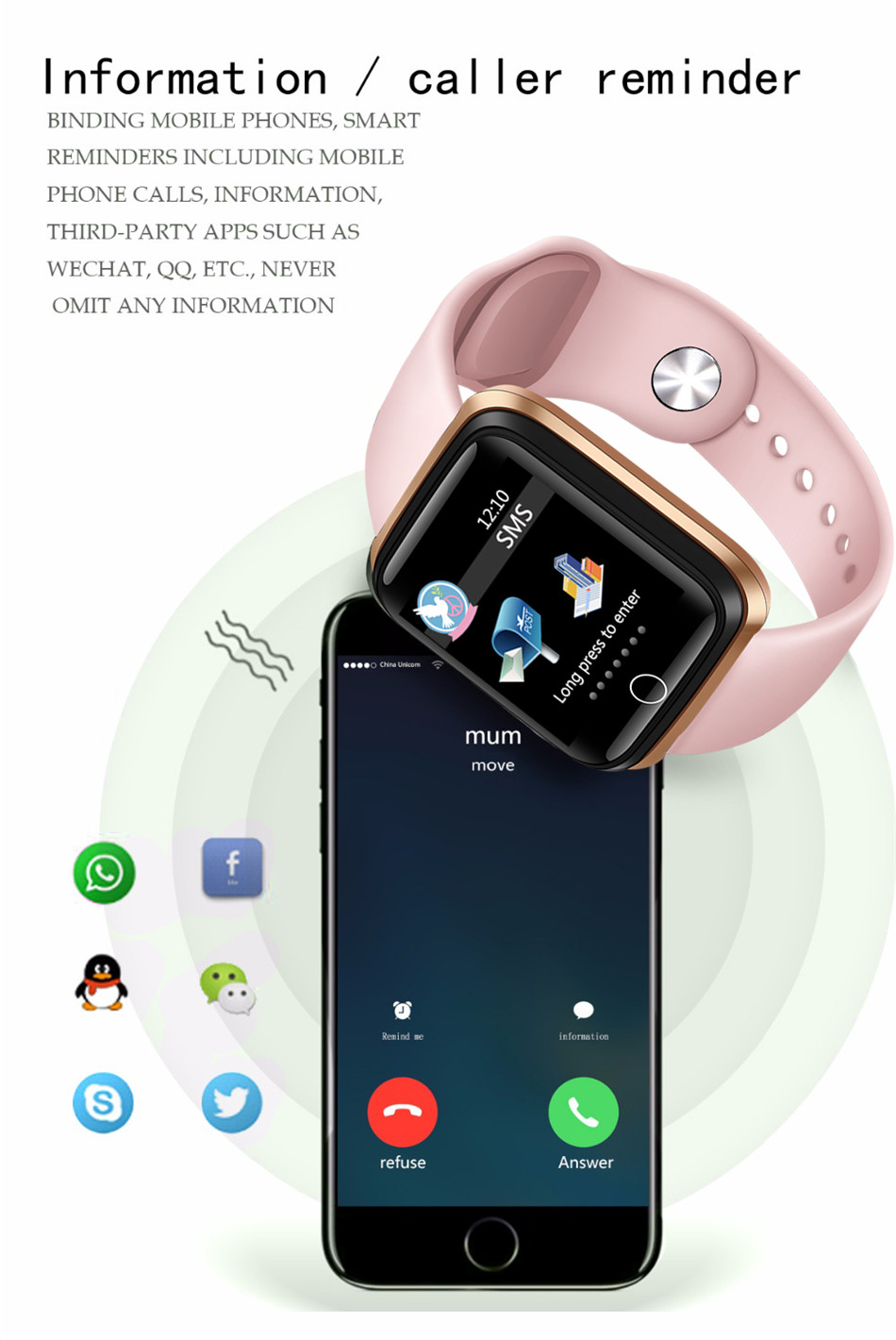 Reloj inteligente LIGE pulsera deportiva IP67 10