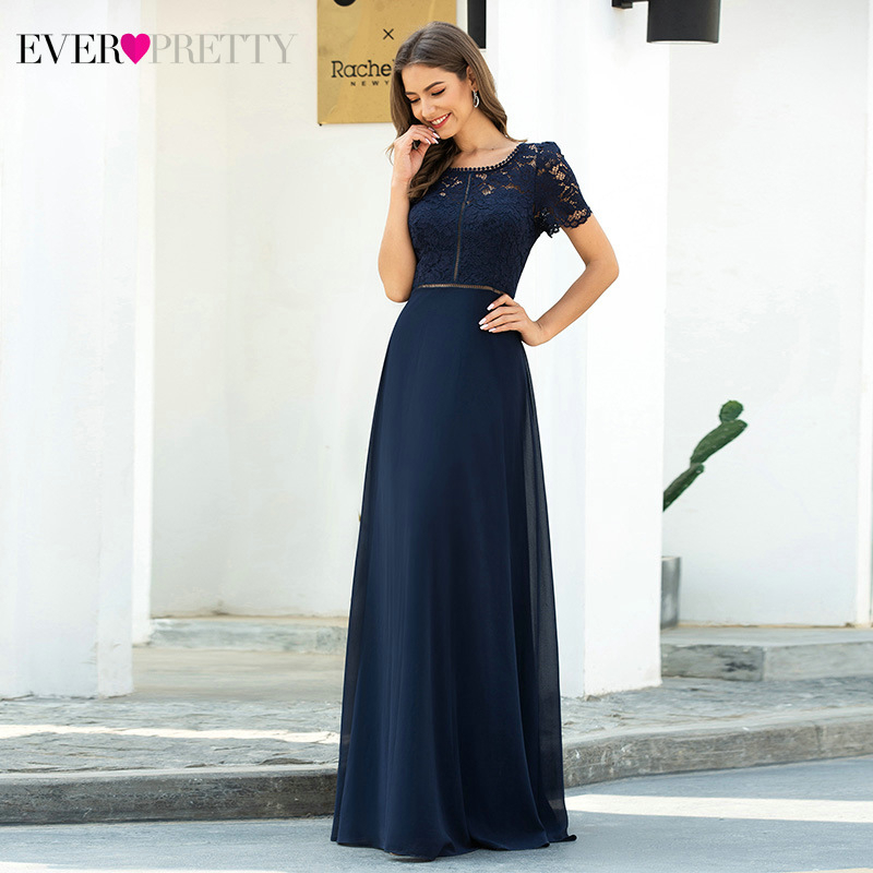 Elegant Lace Prom Dresses Long Ever Pretty A-Line O-Neck Short Sleeve Hollow Out Navy Blue Party Gowns Mezuniyet Elbiseleri 2020