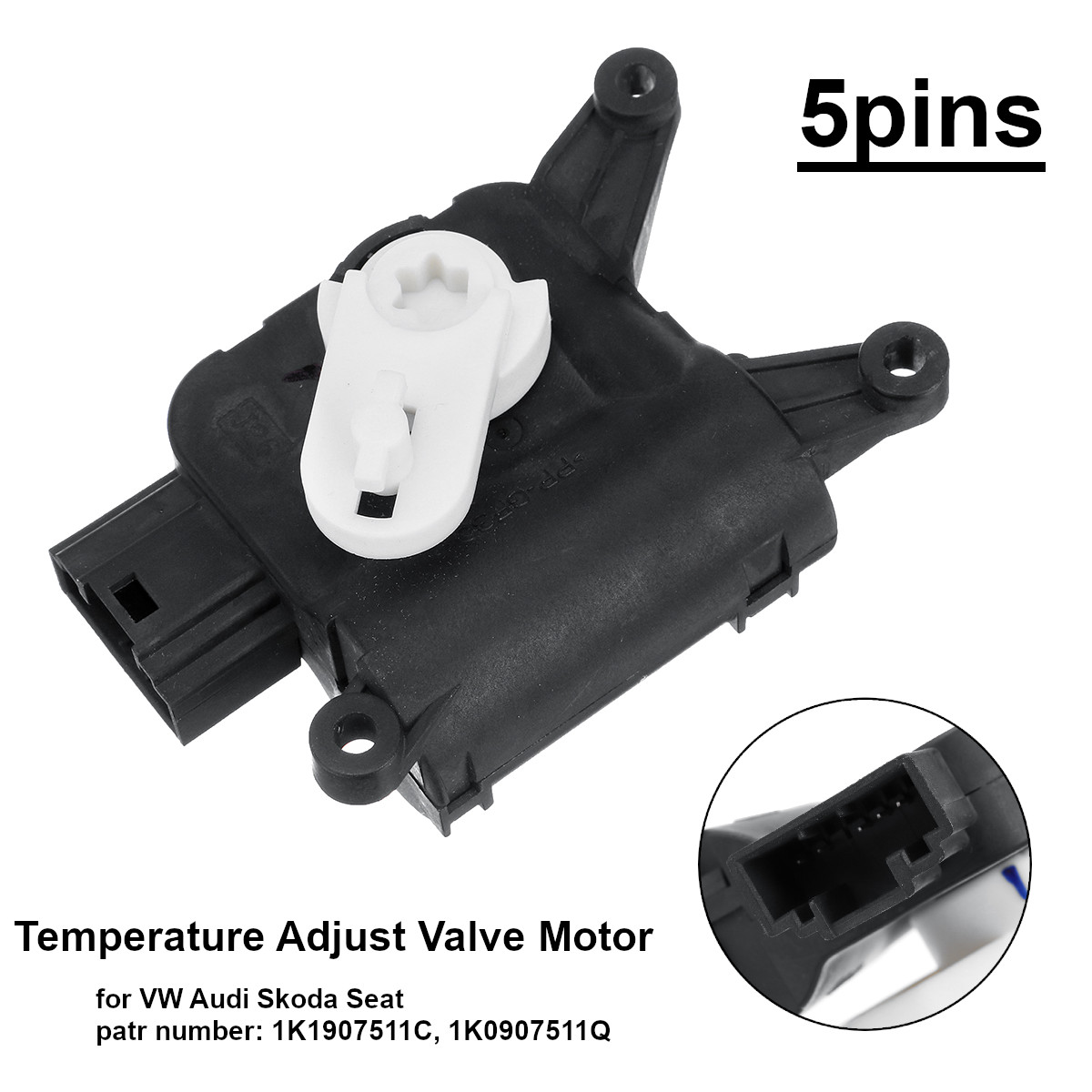 1k1907511c 1kd907511c temperatura ajustar válvula servo motor 5 pinos para vw eos golf gti jetta mk5 mk6 touran para audi a3 q3 tt ac