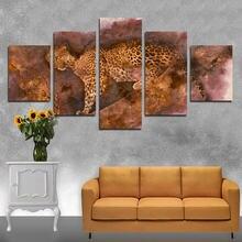 Абстрактная живопись желтый плакат леопардом 5 шт hd Печать