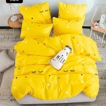 T-ALL bettwäsche set aus Reiner baumwolle Reine farbe A/B doppelseitige muster Cartoon Einfachheit bettlaken quilt abdeckung kissenbezug 4-7 stücke