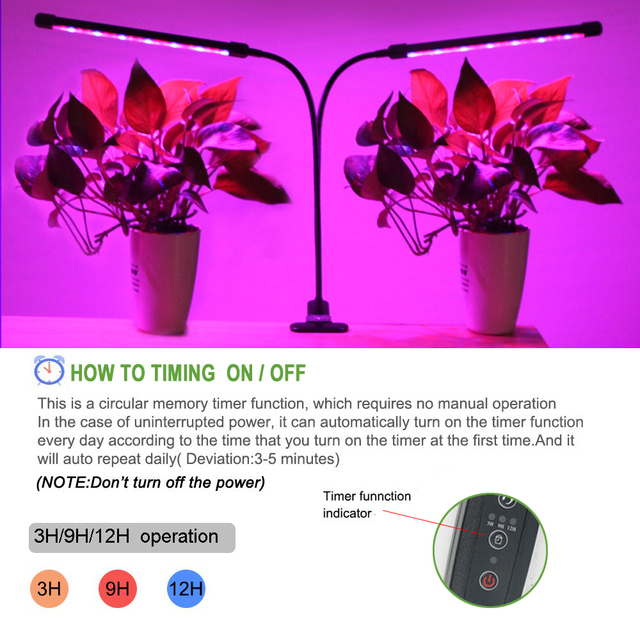 USB Grow Light Timer 18W 27W Phyto Lamp For Plants Lights For Plants Garden Flowers Succulent Cactus Growth Indoor Plants Grow