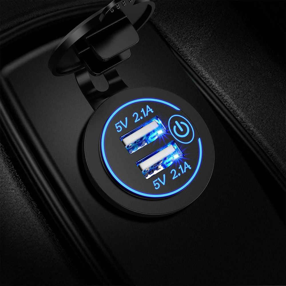Nuevo adaptador de cargador de coche Dual USB con botón táctil luz led 5V 4.2A de salida de carga de encendedor de cigarrillos enchufe cargador usb de coche