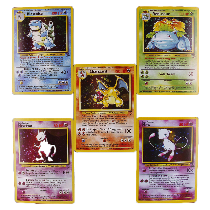 TOMY 5Pcs/set POKEMON Cards EX Charizard Blastoise Venusaur Mewtwo Mew Basic Stage 2 Trading Game Flash Cards Toy For Children