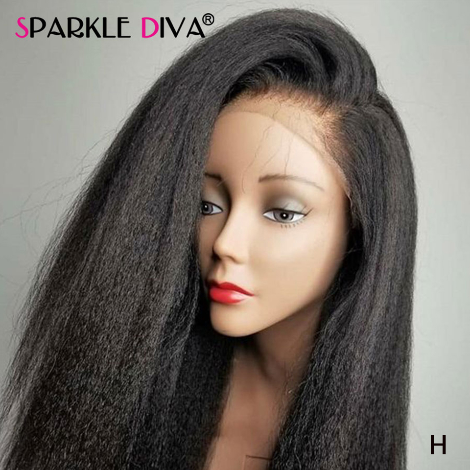 Kinky Straight Hair 360 Lace Frontal Wig Peruvian Remy Human Hair Wigs 150 180 Density 13x4 Lace Front Human Hair Wigs For Women