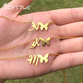 Cute Letter Initial Butterfly Necklaces For Women Stainless Steel Gold A-Z Heart Jewelry Valentine Gift - discount item  30% OFF Fashion Jewelry