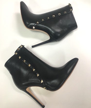 Europe&America women high quality real leather rivets ankle boots Fashion womens heeled short EU35-42 size BY726