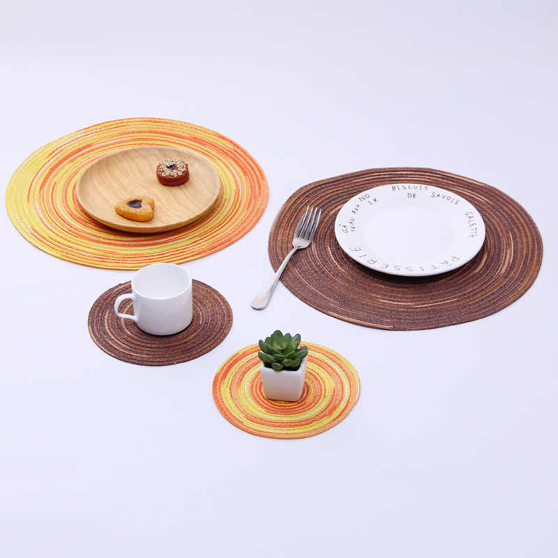 Eropa In Warna Benang Katun Anyaman Anti-Hot Tatakan Teh Coaster Round Plate Pad Mangkuk Mat Teh Dekorasi Pesta tatakan