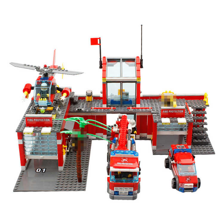 KAZI Enlighten Fire Station Truck Helicopter Firefighter Building Block Fire Fighting Legoing City Bricks Toys For Children