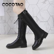 цены Europe And The United States Is In Fall Winter Of New Female Boots With Martin Knights Round Head Flat Handsome And Knee-high