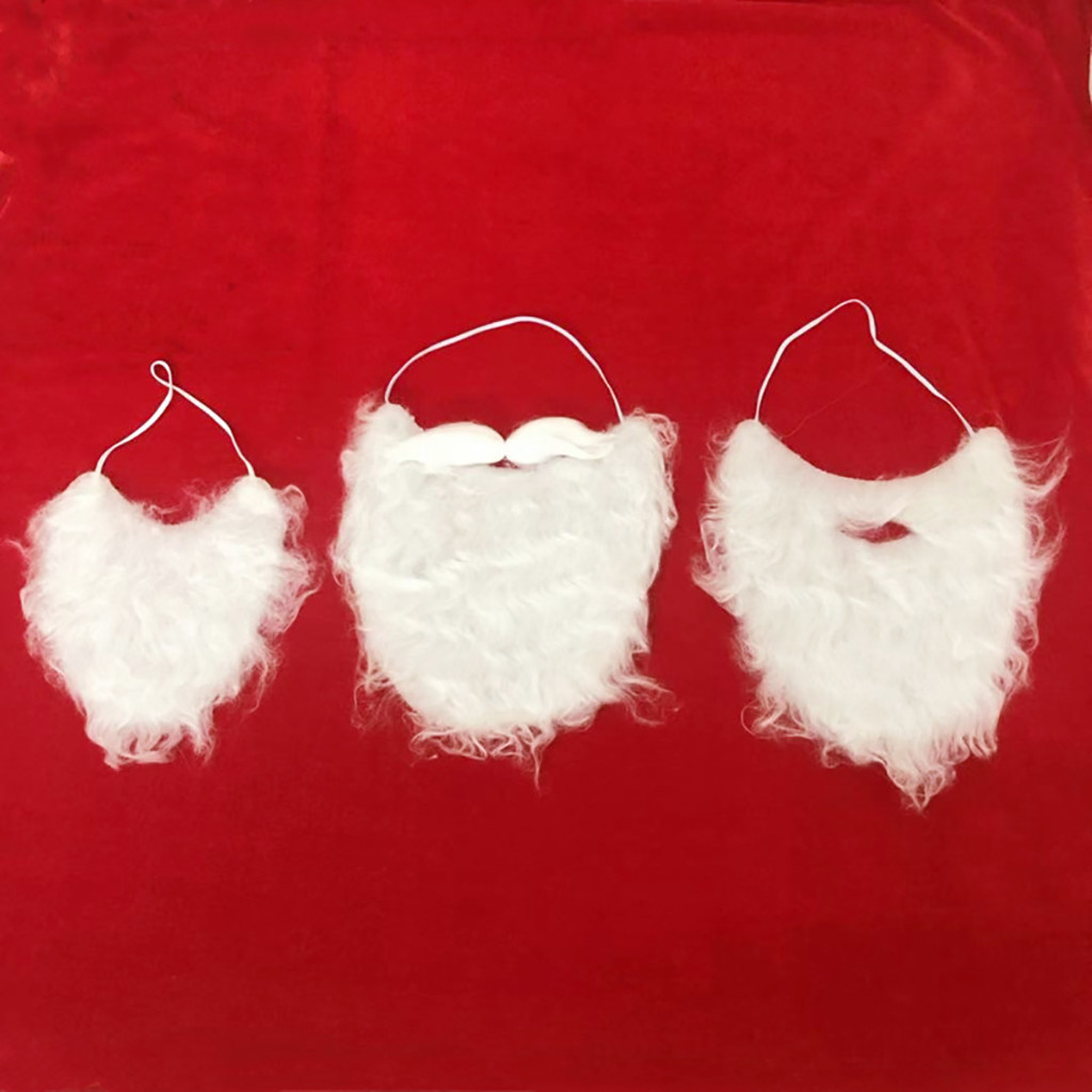 3pc Christmas Gift Actor Cosplay Santa Claus White Beard Mask Rubber Band Fixed Flannel  Fake Beard Christmas Dress Cosplay