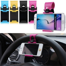 Car Phone Holder Mounted on Steering Wheel Cradle Smart Mobile Clip Mount Rubber Band For Samsung iPhone