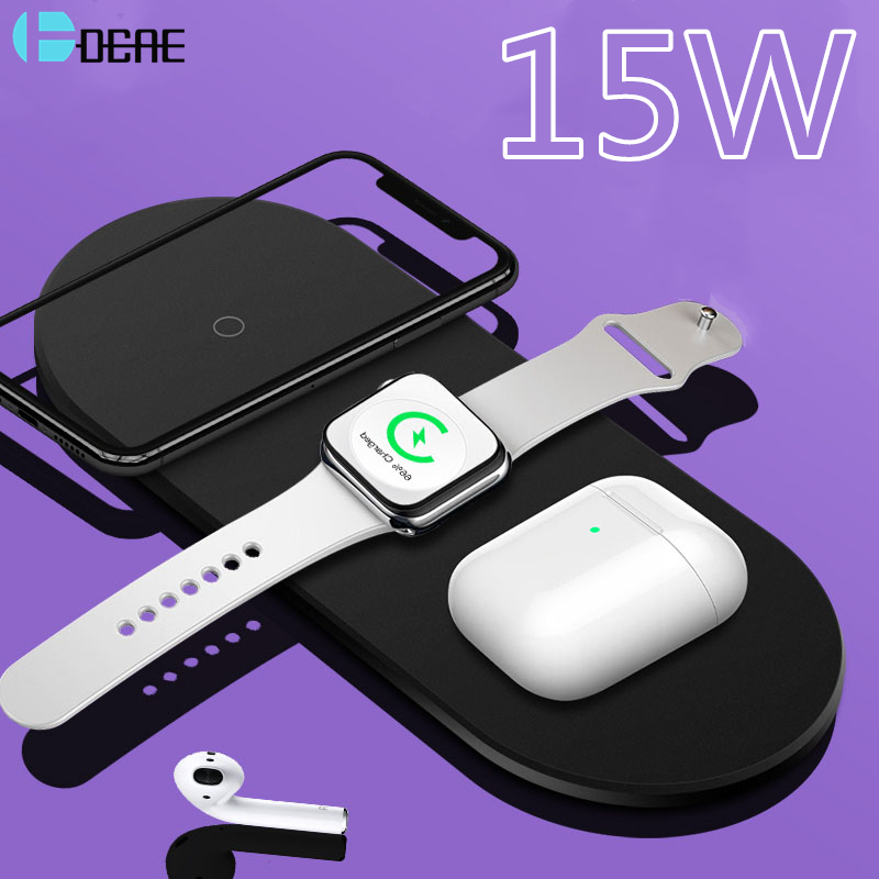 3 in 1 15W Fast Wireless Charger Pad For iPhone 11 XS MAX XR 8 Plus Qi Charging Dock Station For Apple Watch 5 4 3 2 AirPods Pro