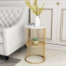Table d'appoint en marbre nordique salon simple canapé d'angle petite table ronde table de chevet en fer double couche côté doré ca