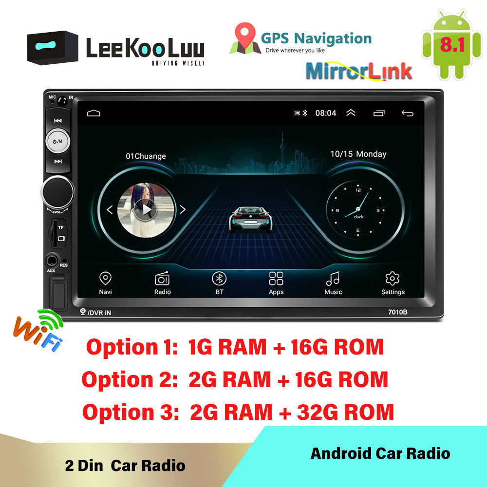 LeeKuuLoo Android 8,1 2 Din auto Radio Multimedia Central MP5 reproductor de vídeo 2Din Autoradio GPS estéreo Bluetooth enlace espejo Wifi