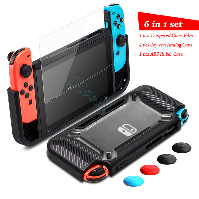 Nintend Switch Accessories Handle Grip Case Nintendoswitch Screen Protector Glass Film Nitendo Switch Silicone Cover for NS Bag