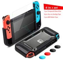 Nintendo switch capa de proteção para nintendo switch, película de vidro protetora, de silicone, para ns