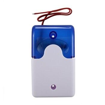 цена на Mini Wired Strobe Warning Siren Durable Dc 12V Sound Alarm Flashing Light Sound Siren Horn Home Security Alarm System 115Db Blue