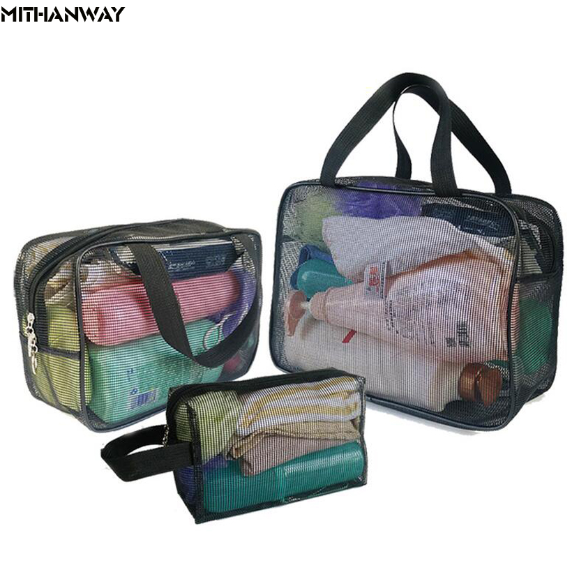 Transparent Women's Lady Mesh Multifunctional Portable Gym Swimming Bathe Travel Storage Handbag Totes Bag 4 Colors