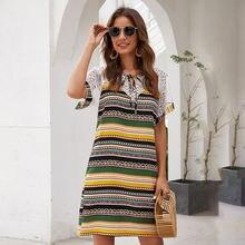 Летнее женское Полосатое кружевное строченное платье Пляжное