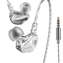 Brand New QKZ CK9 słuchawka podwójna ruchoma cewka słuchawka douszna Stereo z głębokim basem słuchawka hi fi DJ słuchawki sportowe słuchawki douszne