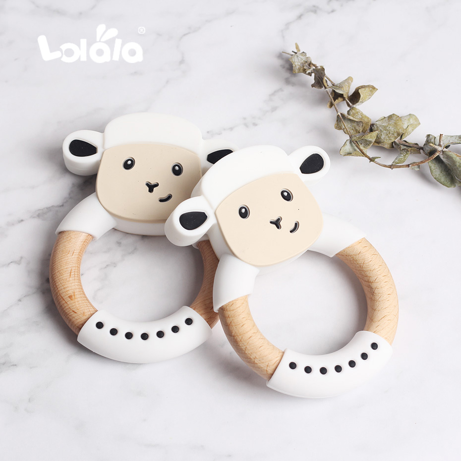 1PC Silicone Teether Cute Sheep Food Grade BPA Free For Baby Teething Chew Charms Silicone Teether Bead Toy Gift Christmas Gift