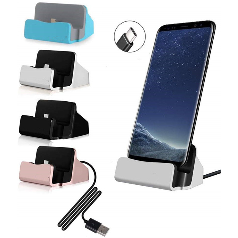 Charge & Sync Docking Station For Lightning Type - C Micro Charging Dock Stand For IPhone Huawei Samsung Xiaomi  USB Charger