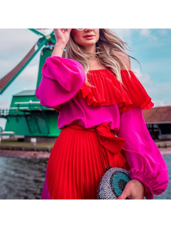 H6f96856bc40643d585f608860e69a458Y - GetSpring Women Dress Slash Off Shoulder Dresses Evening Party Dress Plus Size Summer Dresses Bandage Pleated Long Red Dress