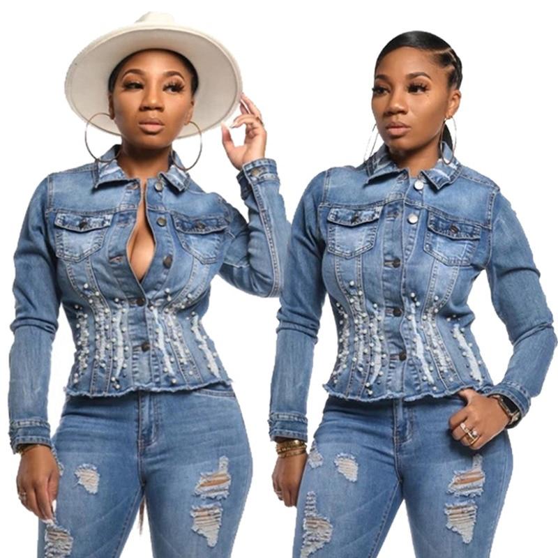 Women s Casual Blue Beaded Short Curvy Denim Jacket