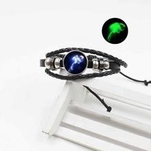 Popular 12 Constellation Woven Leather Luminous Bracelet Vintage Accessories