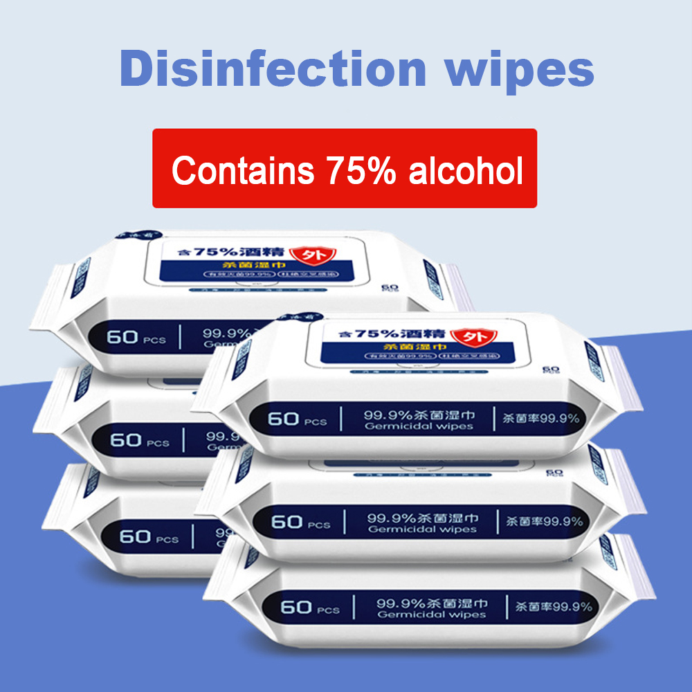 1pc 120mm*170mm*60 Sheets 99.9% Disinfection Wipes 75% Alcohol Wipe Disinfection Sterilization Cleaning Paper Towel