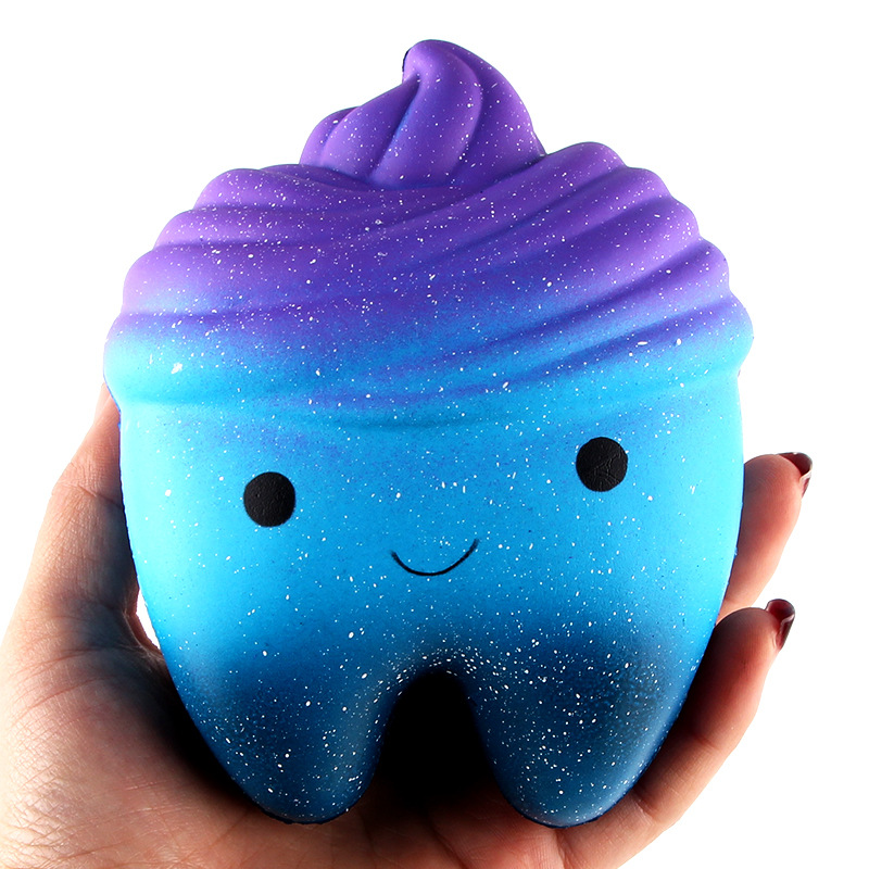 11.8cm Cute Simulated Cartoon Tooth Cake PU Kawaii Squeeze Toys Smile Face Sky Color Slow Rising Decompression Toys For Kids