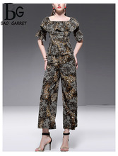 Baogarret 2019 New Spring Summer Designer Sexy Leopard Print Two Piece Set Womens Elegant Vintage Office Lady Pants Suits
