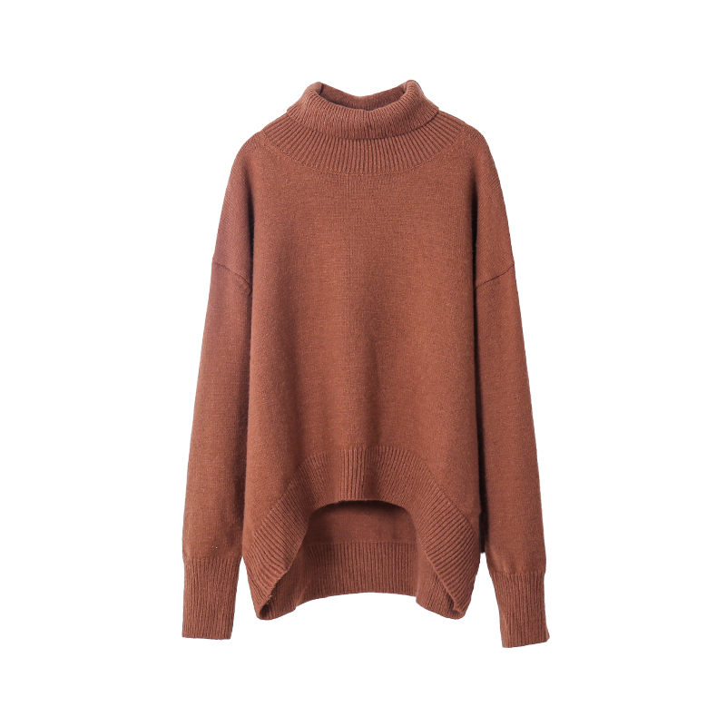 toppies women sweater turtleneck oversize pullover sweater autumn winter knitted tops irregular hem Korean Fashion
