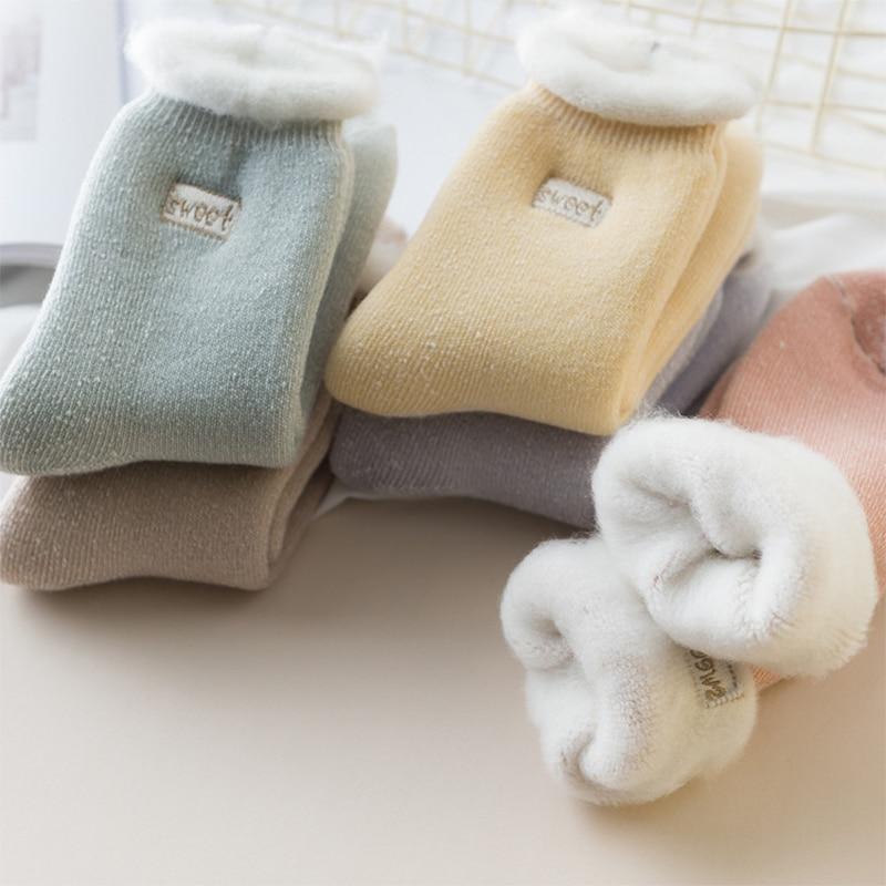 3Pairs/Lot Winter Warm Socks Woman Plus Velvet Thick Wool Tube Cotton Inner Home Floor Socks Casual Soft Sleeping Socks Snow Sox