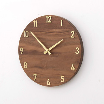 Home Decoration Wall Clock 9 Inch Wooden Silent Non-Ticking Kitchen Wall Clocks Rustic Country Style Wood Round Wall Clock
